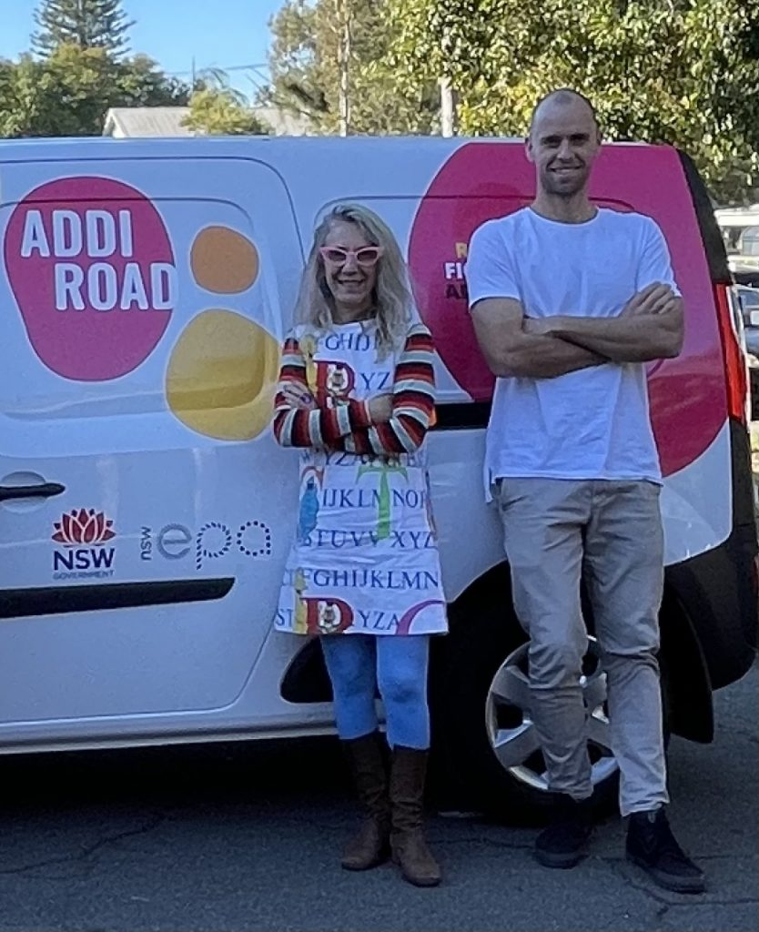 Addi Road CEO Rosanna Barbero and Mike Hayes, our Operations and Finance Manager. beside our new EV.