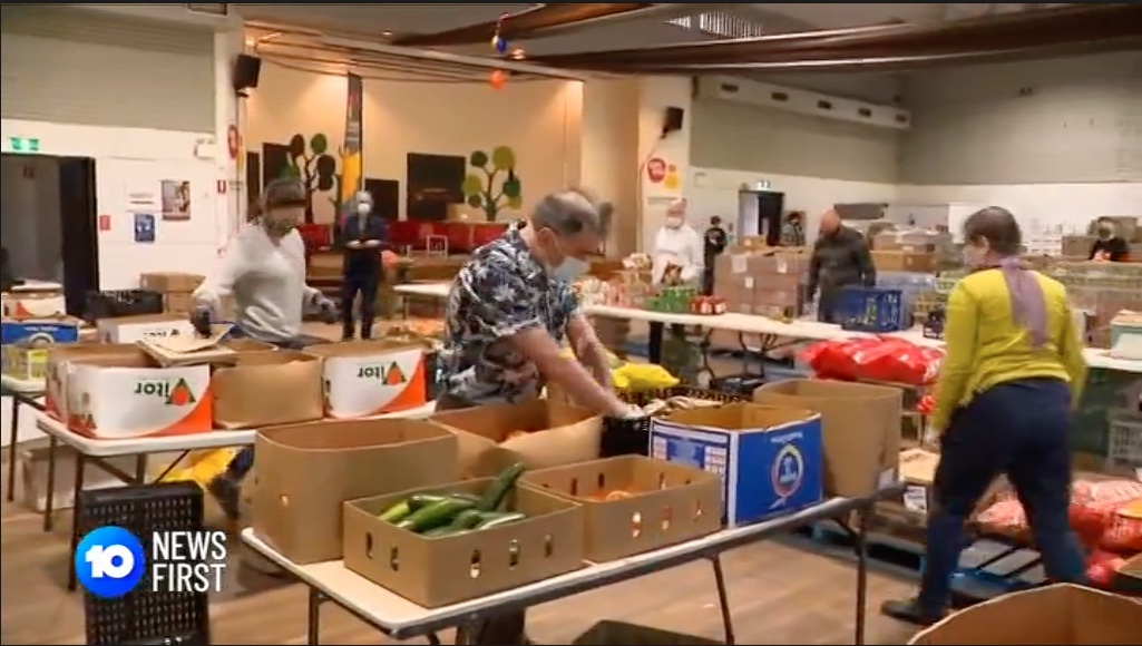 Channel 10 at Addi Road Food Relief Hub with Coles and Second Bite